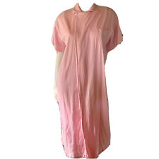 Ralph Lauren One Button Robe Pink Collared Crossover Housecoat Medium Flaw
