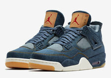 Nike Air Jordan Retro 4 Levi's NRG Blue Denim Sail Red Lot Size 10 AO2571 401