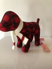 """Victoria Secret Pink 9"""" Red & Black Plaid dog With Scarf New"""