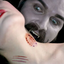 Realistic Halloween Dracula Werewolf Neck  Bite Face Temporary Tattoo Fake Blood