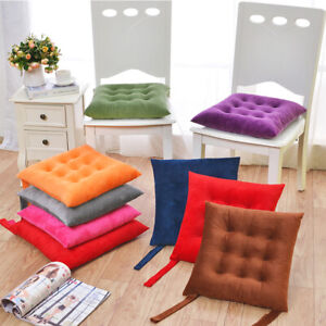 1pc Square Velvet Seat Pads Chair Cushion Pad Tie On Dining Room Office Kitchen