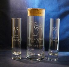 3 pc Wedding Unity Sand Ceremony Set w 9 x 3 vase w Palm Trees and a Cork lid