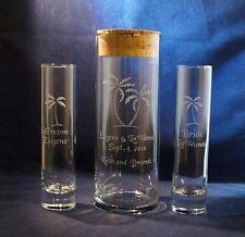 3 pc Wedding Unity Sand Ceremony Set, Engraved 9 x 3 vase, Palm Trees, Cork Lid