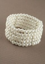 1x 5 Row Ivory Stretch Pearl Bead Corsage Cuff Bracelet - Wedding Celebration,