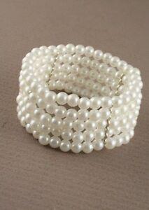 Ivory Stretch Pearl Bead Bracelet - 5 Row - Corsage Cuff Wedding