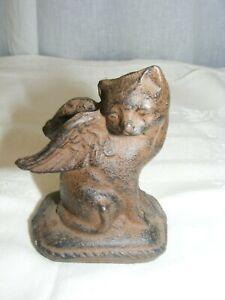 Vintage Cast Iron Figurine Angel Cat Angel Wings