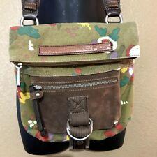 Fossil Crossbody Bag Floral Leather Canvas BoHo Hippie Green Brown Crossbody