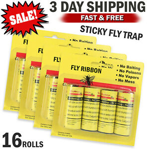 16 Rolls Sticky Fly Trap Paper Insect Bug Catcher Strip Fly Sticker Non Toxic US