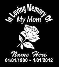 In Loving Memory Of Mom Rose Decal Window Sticker Custom Memorial