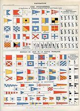 Marine, signals, international code  Antique lithograph print...Larousse 1897