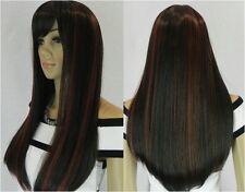 Une belle noir mixte longue rouge perruques synthétiqueswig+hairnet