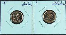 Canada 1 Cent Penny Collection - 2011 ! Both Varieties (2) Coins - Uncirculated