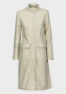 Ladies Long Winter Coat formal smart cream womens Lady's wool blend warm zip up