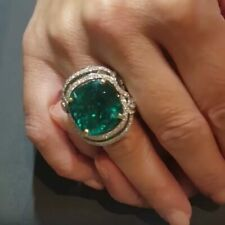 Stunning Colombian Green Cushion Cut 15.04CT Emerald With CZ Accents Unique Ring