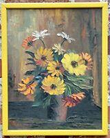 Vintage Floral Still Life Signed Original Oil Painting