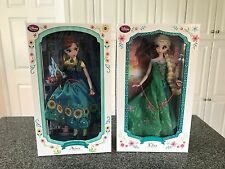 "DISNEY 17"" FROZEN FEVER ANNA & ELSA Limited Edition Doll Set NIB KATIE COOK PRNT"