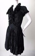 JIGSAW BLACK CLASSICS  Cap Sleeve Ruffle Dress  Size 2 AU / UK 8 - 10 US 4 - 6