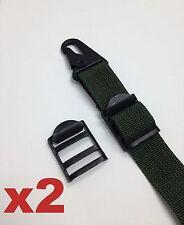 "Set of 2 Tactical 1"" Tension Lock Buckle Ladderlock Sling Attachment BLK - STEEL"