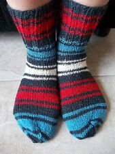 Hand knitted wool/bamboo blend striped socks, charcoal/red/blue/white