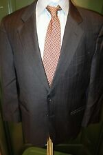 Brooks Brothers Loro Piana Wool Dark Charcoal Gray Stripe Suit 42R Made Italy