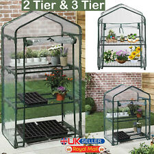2/3 Tier Mini Greenhouse PVC Plastic Outdoor Garden Steel Frame Plant Grow House