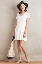 NWT SZ M $138 ANTHROPOLOGIE RIBBED FLARE DRESS BY DOLAN LEFT COAST WHITE