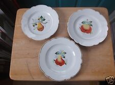 Three Vintage White China with Fruit Design 7 1/2-Inch Plates