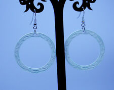 Long Drop Dangle White Ceramic Earrings 1980'