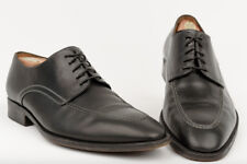 Santoni Men's Leather Oxford Black Dress Shoes Derby Stitched 10.5 Italy Laceup