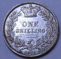 1875 QUEEN VICTORIA SILVER SHILLING - DIE No. 70 - FINE - EF CONDITION (HF118)