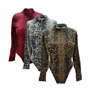UK Womens Ladies Snakeprint Bodysuit Size 8-16