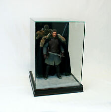 "1/6 Scale Comic Figurine Display Case 14"" Tall All Glass Black Sport Moulding"