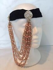 VINTAGE 1920 DECO SILVER ROSE GOLD BEAD FLAPPER FASCINATOR LACE HEADBAND GATSBY