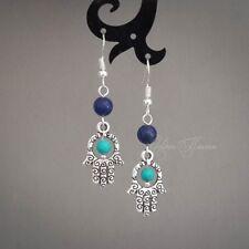 Silver Hamsa earrings Lapis Lazuli & Turquoise Jewelry 925 sterling hook Tibetan