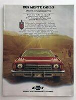 1975 Chevrolet Monte Carlo Coupe Landau Canadian Sales Brochure Original