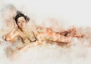 """reclining nude (Female) watercolour painting unique gift (Print) 5""""x7"""""""
