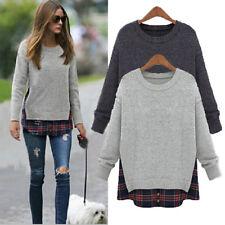 UK8-24 Women Plaid Check Shirt Tops Pullover Jumper Patchwork Sweatshirt Sweats