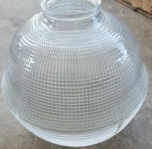 """Antique HOLOPHANE Glass Ball Lamp Light Shade Prismatic 2 1/4""""W Fitter SCARCE"""