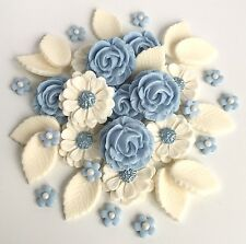 Baby Blue Ivory Roses Bouquet Cake Decorations Topper Sugarpaste Edible Flowers