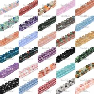"""Gemstone smooth round loose spacer beads 6mm 8mm 10mm 16"""" Full strand"""
