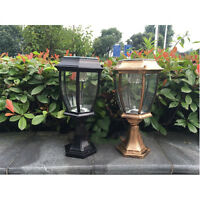 Outdoor Solar Power LED Garden Yard Pillar Light Post Landscape Lamp Lantern