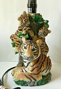 """Bengal Tiger Lamp Table Accent Lighting Mother Baby Twins Cubs Tree Resin 14""""H"""