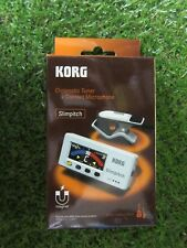 F/S Korg Slim pitch Guitar Tuner w/ Contact Microphone Pearl White From Japan