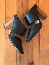 f7ab96e1fc38 Mollini Black Leather Heels Mules Sz 40