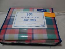 New Southern Tide King Duvet Cover Prep School Plaid ~ Multi Colors NIP
