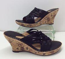 e7b67efcc5a2 Born Drilles Black Woven Leather Open Toe Platform Wedge Sandals Women s Sz  9 M