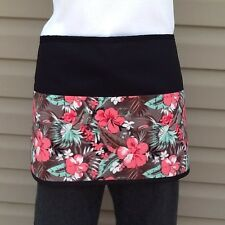 Black Tropical server waitress waist Half apron 3 pocket restaurant Classyaprons