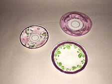 Staffordshire Pink Luster Cup Plate Lot Of 3 With Florals Enamel Houses 1840's