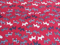 NEW!  PolyCotton Fabric Scottie Terrier Dog RED Pet HALF Metre Reduced Prices