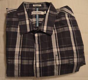 MEN'S DRESS SHIRT~CALVIN KLEIN~SIZE XL~BLACK & GRAY PLAID~COTTON~EUC~CHEAP SHIP!